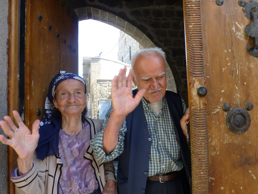 Degeen Baydzar and Baron Sarkis, oldest living Armenians in Dikranagerd.